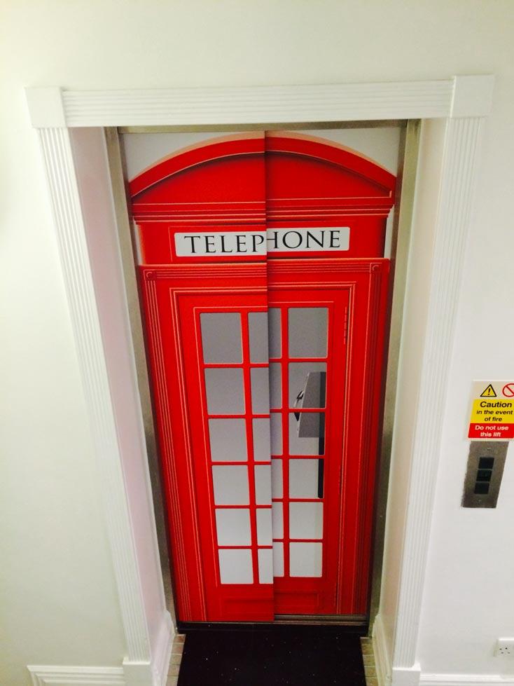 Red Telephone Box Elevator Graphics